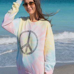 Unisex Giant Peace Sign Tie Dye Fleece