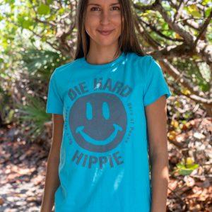 Womens Die Hard Hippie Face Slim Tee