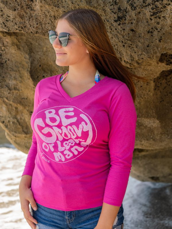 Womens Stay Groovy 3/4 V-neck Tee