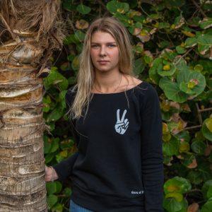 Womens Peace Hand Wide Neck Fleece