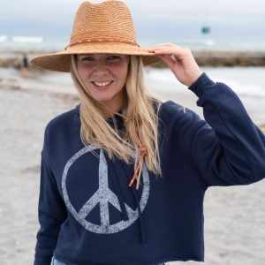 Womens Giant Peace Cropped Pullover Hoodie
