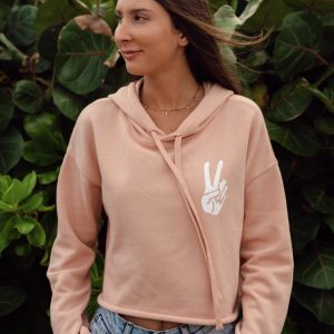 Womens Peace Hand Cropped Pullover Hoodie